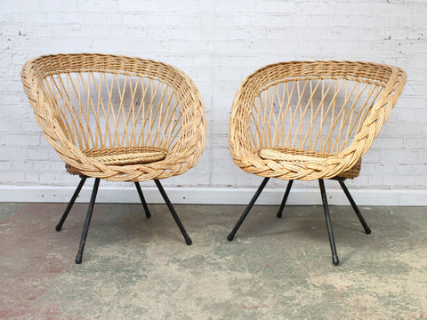 A Pair of French 1960's Cane Chairs With Matching Casual Table