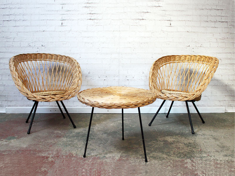 & A Pair of French 1960u0027s Cane Chairs With Matching Casual Table