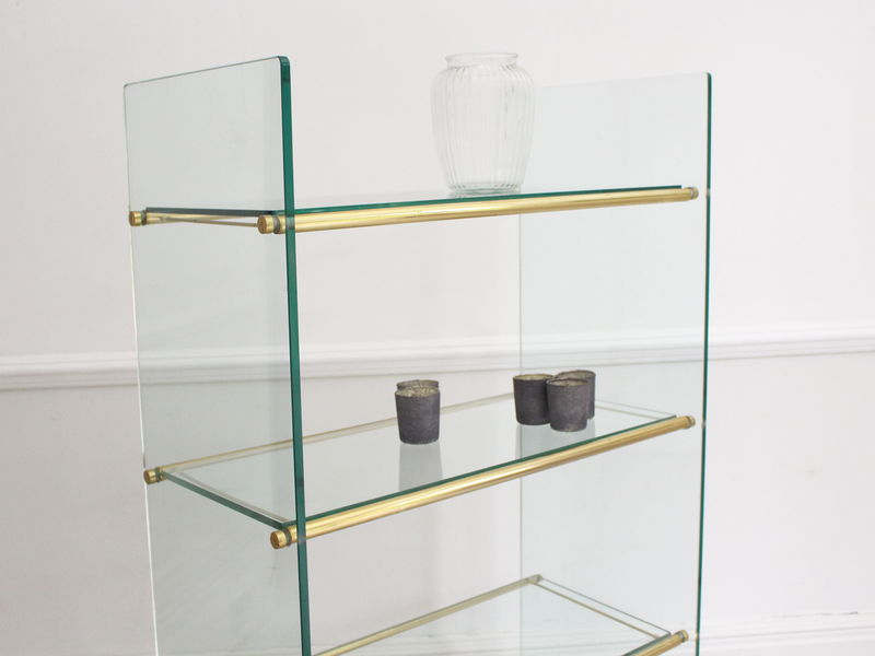 A 1960's Belgian Shop Glass Etagere with Brass Fittings