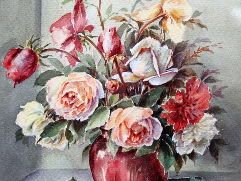 Pretty Vintage French Still Life Watercolour of Flowers