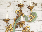 A Pair of 1960's Gilt Metal Four Light Wall Lights from Aspinall's in Curzon St