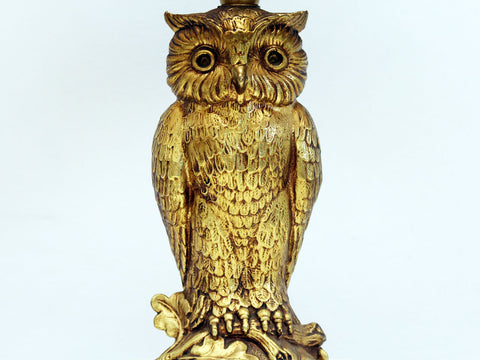 A French 1960's Gold Owl Table Light with Gold Lined Black Shade