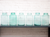 Vintage Hungarian Scalloped Green Glass Jars