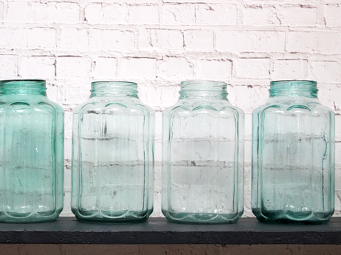 Vintage Hungarian Scalloped Green Glass Jars 6 Available
