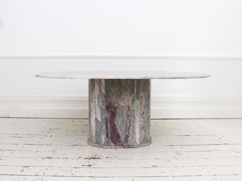 A 1970's Marble Dining Table with Faceted Base