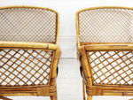 Pair of Mid Century Modern Rattan and Bamboo French Single Beds by Louis Sognot