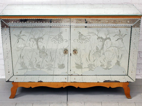 A Mid Century Etched, Mirrored French Sideboard Cabinet