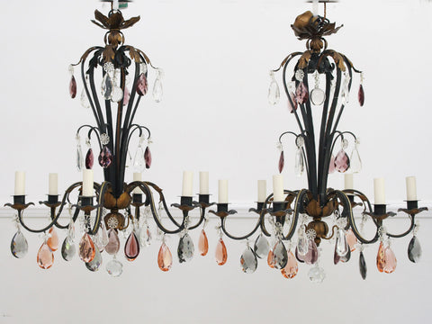 A 1950's Decorative Italian Painted Wood Silver and Red Chandelier