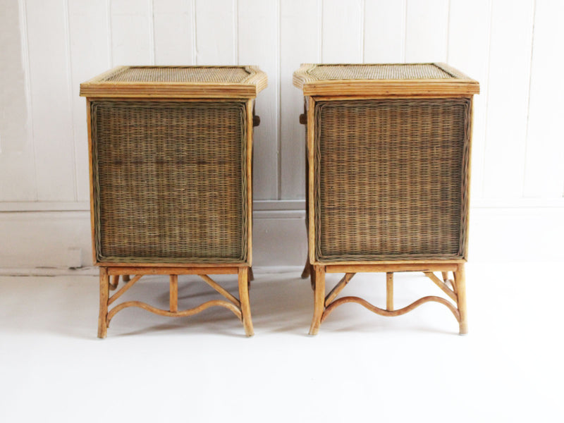 A Pair of 1950's French Rattan, Wicker & Bamboo Bedside Tables