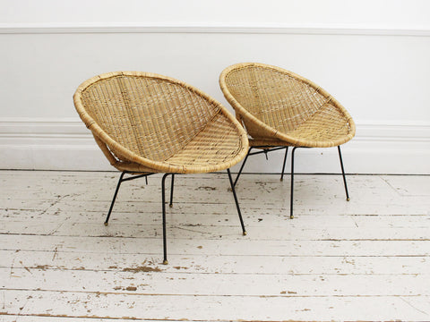 A Pair of 1960's French Rattan, Wicker & Bamboo Bedside Tables