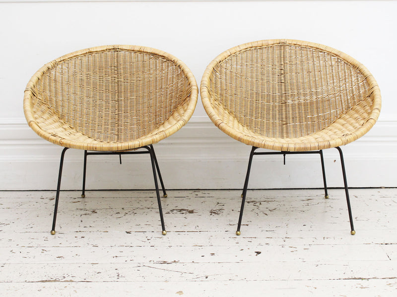 A Pair of 1960's French Rattan Bucket Chairs