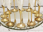 Two Sets of Six 1970's French Silver Plated & Brass Champagne Flutes