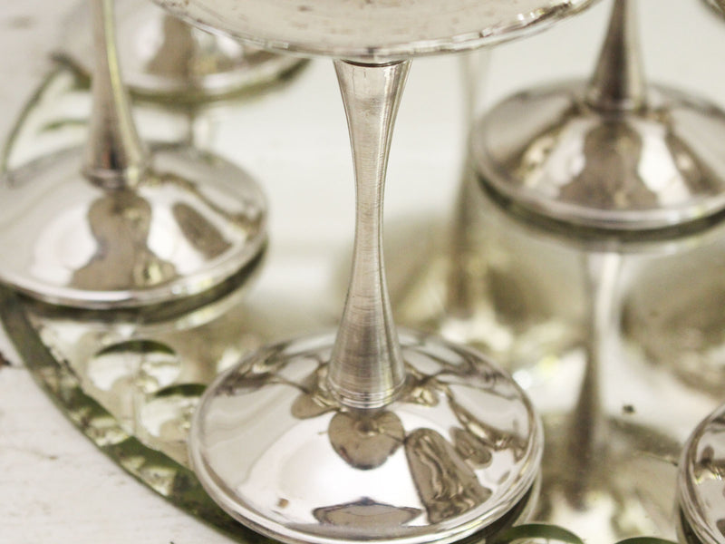 A Set of 9 Vintage Italian Silver Plated Champagne Coupes