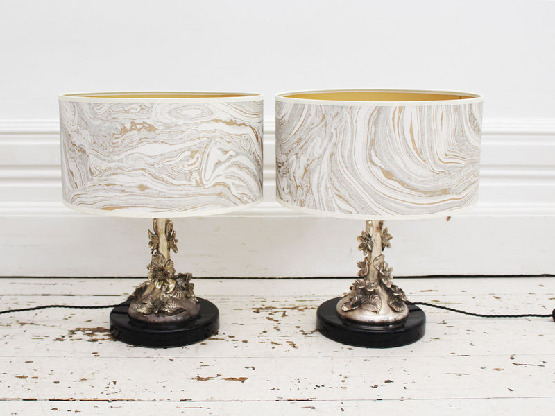 A Pair of 1960's Italian Solid Silver Artisan Made Table Lights