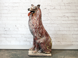Vintage French 1950's Painted Terracotta Collie Dog Statue