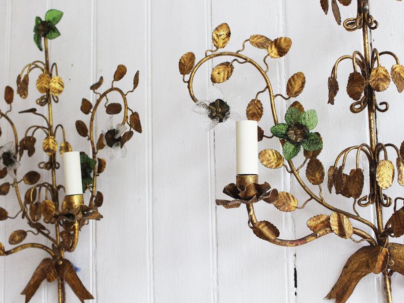 A Pair of Mid Century French Gilt Metal Wall Lights with Glass Flowers