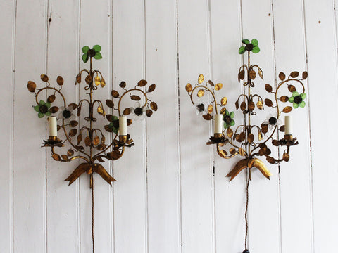 A Large Pair of 1950's French Gilt Metal Relief Wall Lights