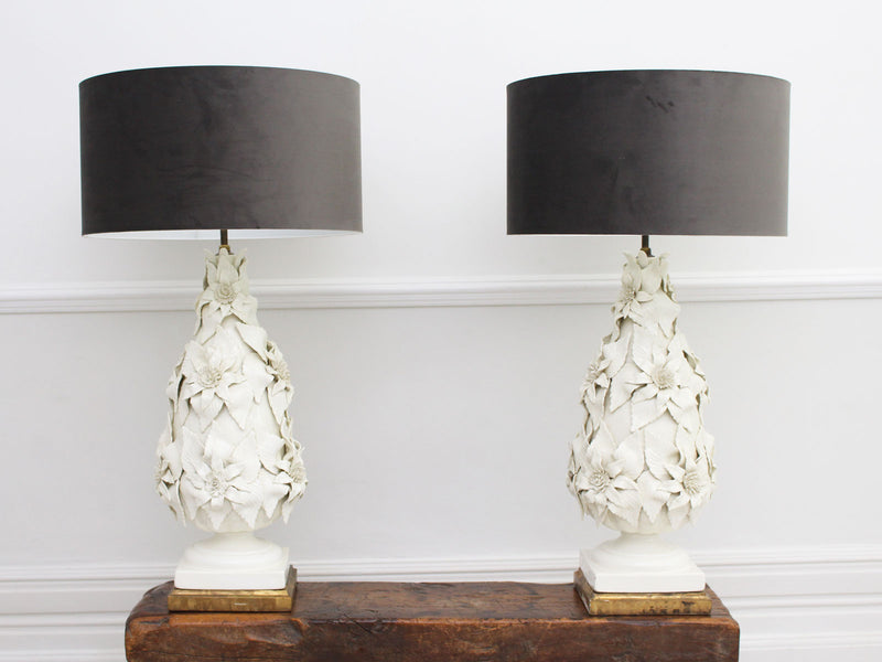 An Immense Pair of 1950's Cream Ceramic Casa Pupo Table Lights