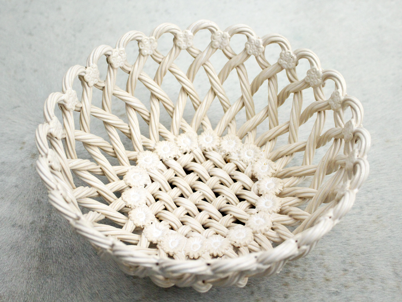 A Pretty Vintage Spanish Cream Ceramic Weave Dish