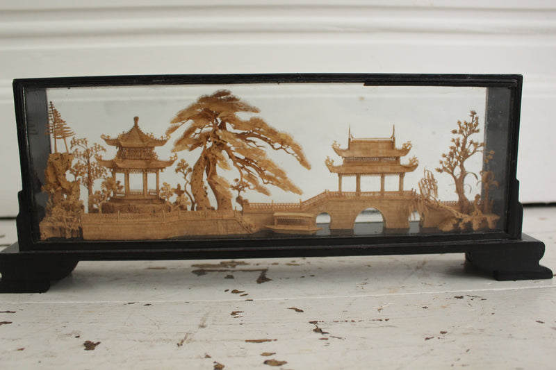 A Vintage Cork Sculpture of a Japanese Landscape