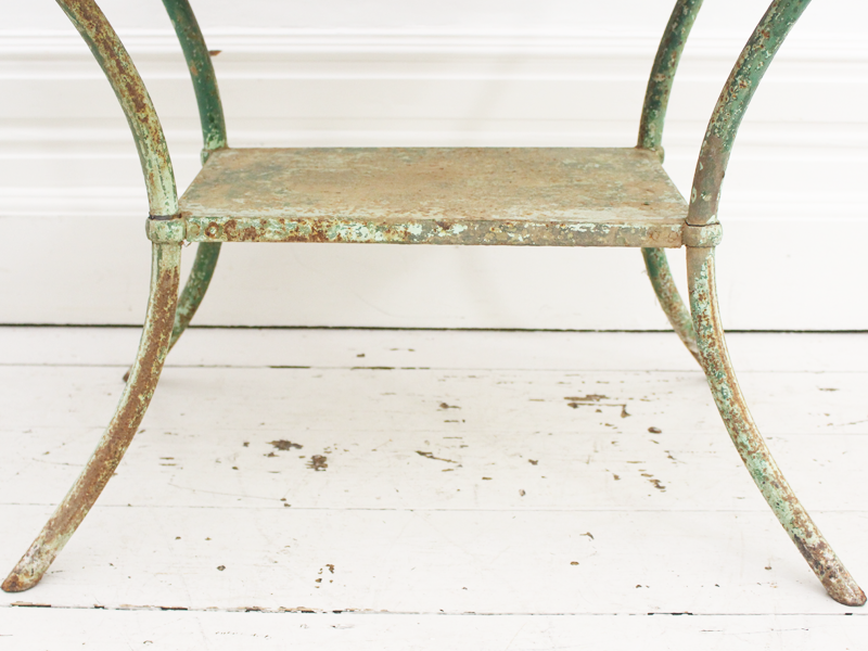 Vintage French Painted Garden Table with Wooden Top and Cast Iron Legs