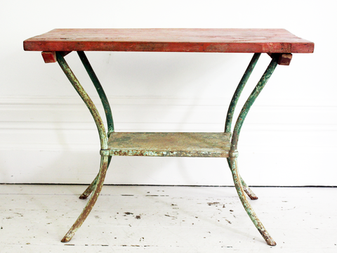 A 19th Century Four Drawer French Painted White Oak Large Kitchen Table