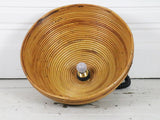 A large 1960's rise and fall rattan pendant light