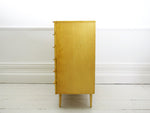 A blonde, satin birch 1960's chest of drawers