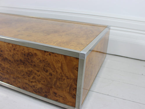 A burr walnut & Steel 1970's Italian coffee table