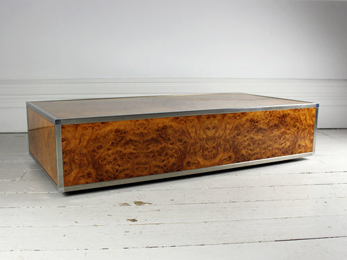 burr walnut & Steel 1970's Italian Coffee Table