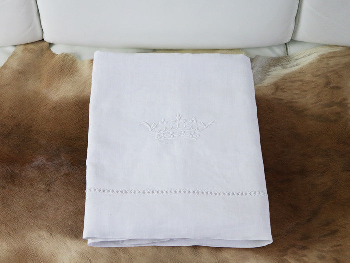 Antique French embroidered crown on large double linen sheet