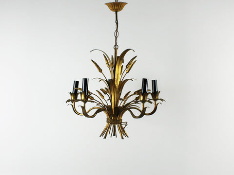 A French 1960's gold wheatsheaf chandelier