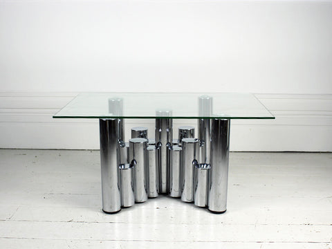 An Italian 1970's Glass and Chrome Coffee table