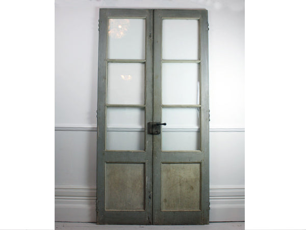 Pair of Antique Grey French Doors with Glass Panels