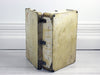 1930's Medium Vellum Suitcase with Studwork & Wing Shaped Handle Mounts