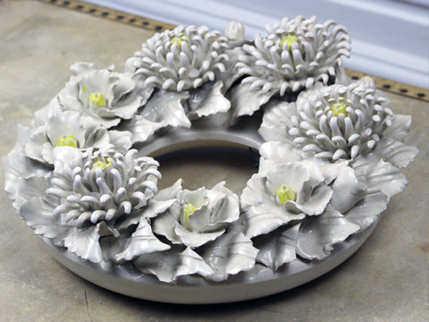 A late 19th C Cream Ceramic Floral Wreath