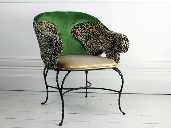 Pair 1950's Wrought Iron Leopard Chairs