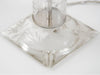 Pair of 1950s French Etched Glass Table Lamps with Chrome Detail