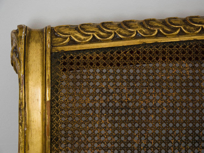 French Louis XVI Style Gilt Wood Double Bed