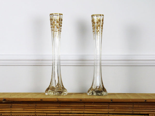 A pair of fluted antique French glass vases with gold  : pairofglassvaseswithgoldroses3grande from streettmarburg.co.uk size 600 x 450 jpeg 31kB
