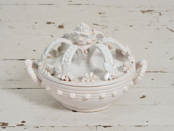 A Rare White 19th Century French Ceramic Crown Shaped Dish