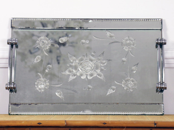 1930s French Etched Mirrored Tray with Chrome Handles