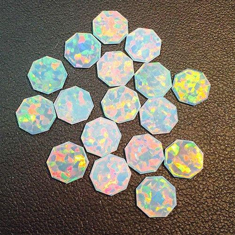 White Octagon Coin Opals by Profound Glass