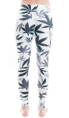 White & Black Weed Print Leggings by Miss Mary Jane