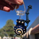 Small Biz Saturday Blue Bubbler Pendant by J&C Glass