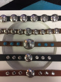 Sterling Silver Conchos on Leather Bracelets by Roger Rowland