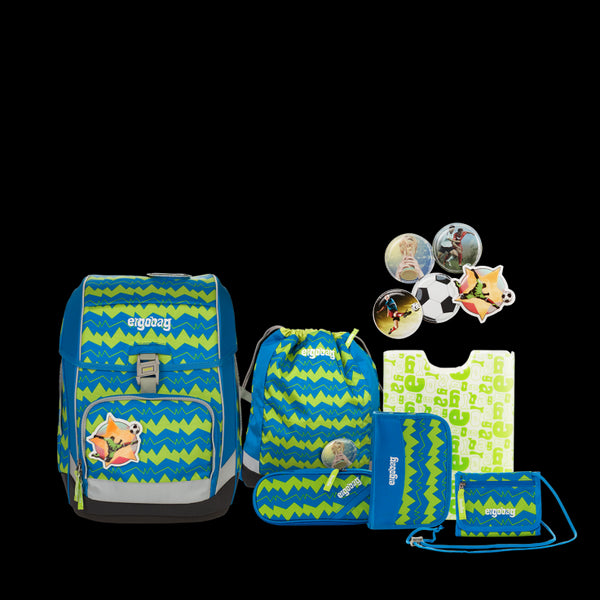 ergobag SET Cubo 6-pcs School Bag SET Green Zigzag - ergokid Singapore