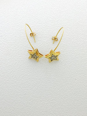 Estate 14K yellow wire star earrings with .12ct of  pave diamonds