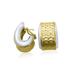 "14K TWO-TONE BASKET WEAVE ""J"" HOOP OMEGA BACK EARRINGS 