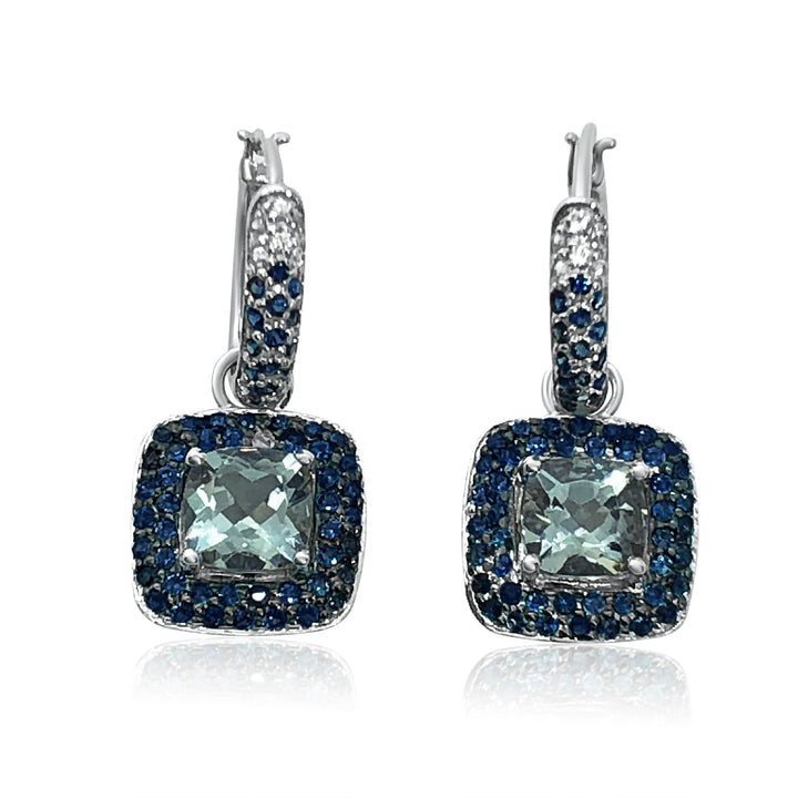 10K WHITE GOLD SYNTHETIC AQUAMARINE AND SAPPHIRE DANGLE EARRINGS | Neil's Jewellery and Exchange 18k gold earrings, estate jewelry gold earrings, stud earrings fine jewelry, fine jewelry diamond stud earrings